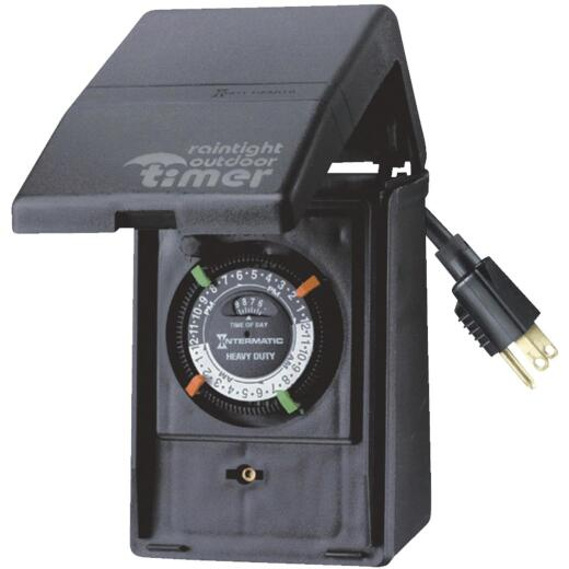 Intermatic 15A Resistive Or Tungsten 120V 1800W Black Plug-In Outdoor Timer