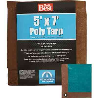 Do it Best 1 Side Green/1 Side Brown Woven 5 Ft. x 7 Ft. Medium Duty Poly Tarp
