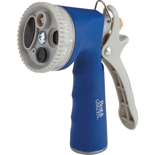 Best Garden Metal 5-Pattern Nozzle with Comfort Grip, Blue & Gray