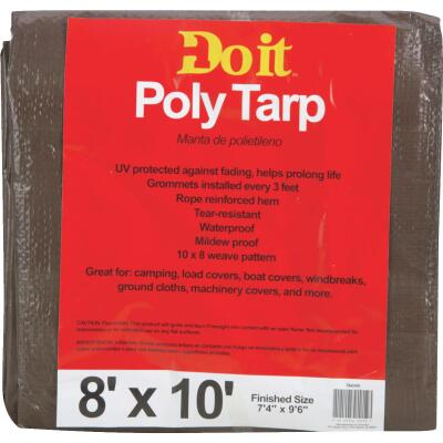 Do it Best 1 Side Green/1 Side Brown Woven 8 Ft. x 10 Ft. Medium Duty Poly Tarp
